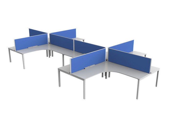 Axle 8 Person Office Workstations 90 Degree L Shaped Desks - Plus Layout