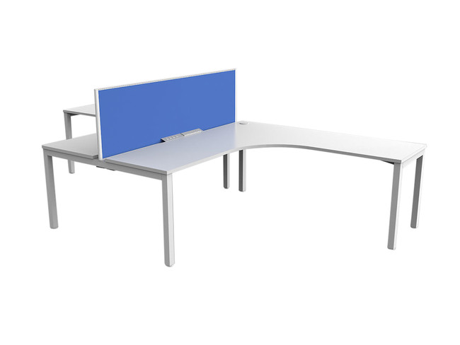 Axle 2 Person Office Workstation - 90 Degree Desks - Tee Layout