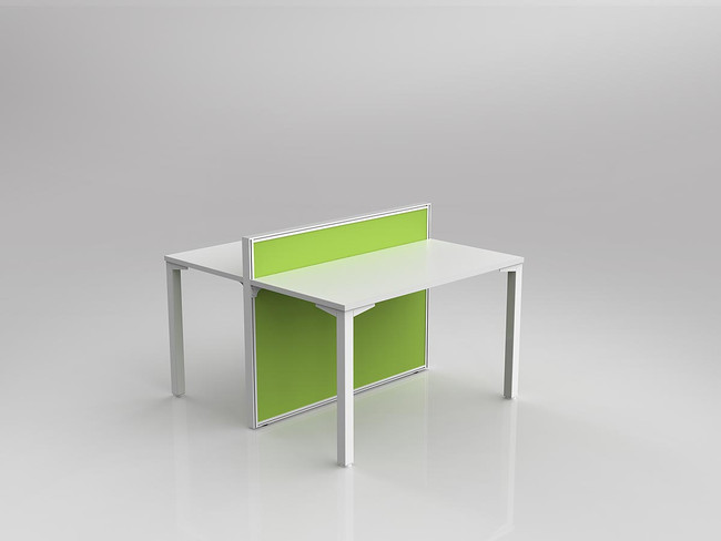 Atelier 2 Person Workstation - Double Sided Desks - Fabric Screen
