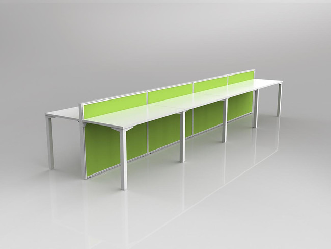 Atelier 8 Person Office Workstation - Double Sided Desks - Fabric Screen