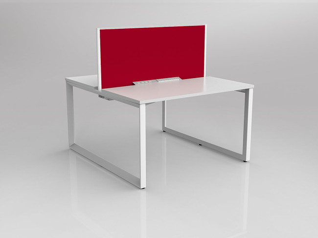 Smith 2 Person Office Desk - Double Sided Workstation with Fabric Screen