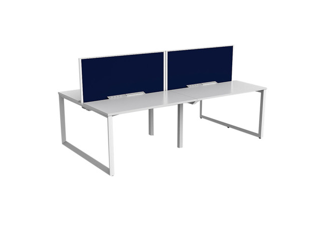 Smith 4 Person Office Workstation - Double Sided Desk with Fabric Screen