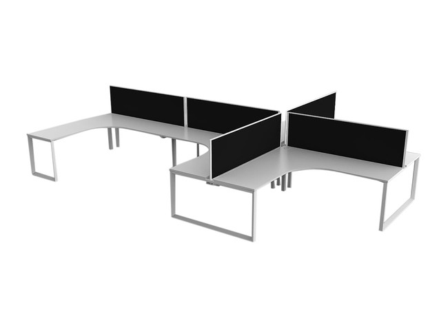 Smith 6 Person Office Workstations - 90 Degree Desks