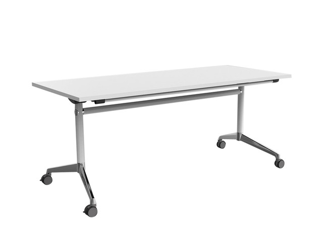 Simple Flip Top Table on Wheels - Chrome Feet