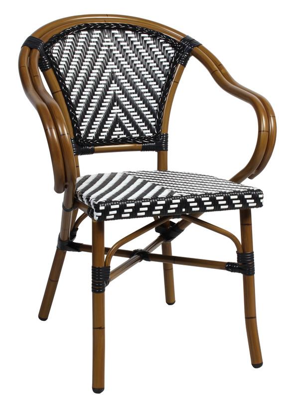 Amalfi Cafe / Restaurant Arm Chair - Black