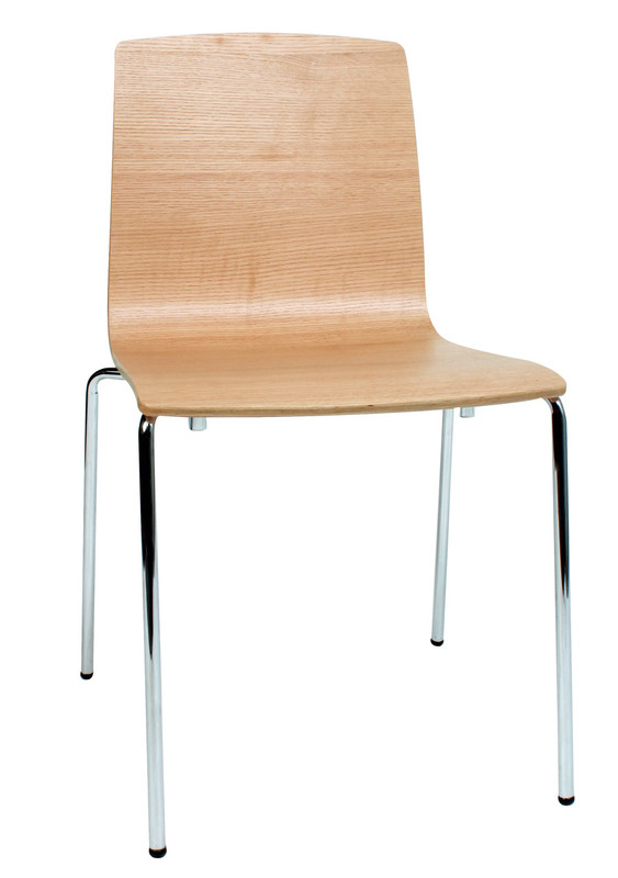 Calais Timber Cafe Chair - Stackable - Metal Leg