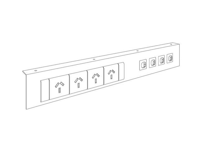 Below Desk Mounting Plate 4x GPO & 4x Data