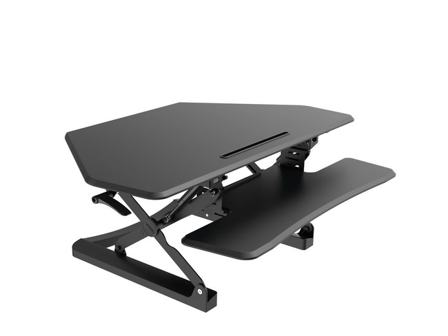 Arise Deskalator Sit to Stand Riser Corner Desk - Black