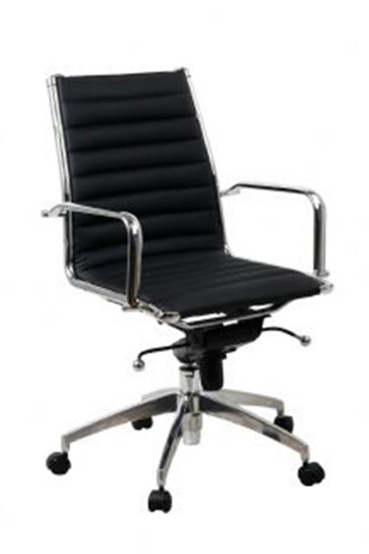 Lean Modern Executive Office Chair - Black PU