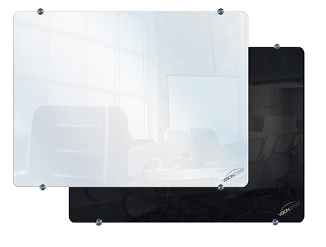 Clarion Magnetic Glassboard in Black and White