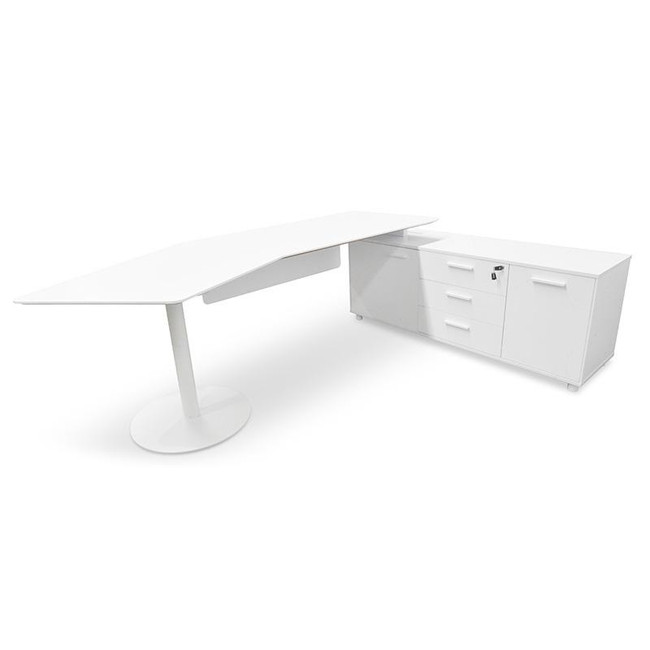 Modern Executive Office Desk with Right Return - White