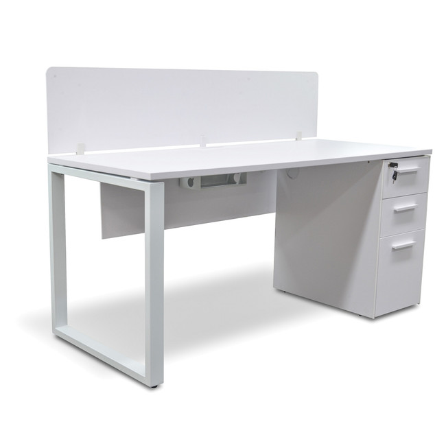 Modern Executive Office Desk With Privacy Screen and Pedestal - White