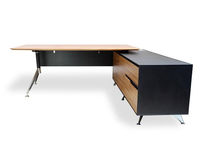Designer Executive Office Desk Under Desk Storage Return - Zebra Oak