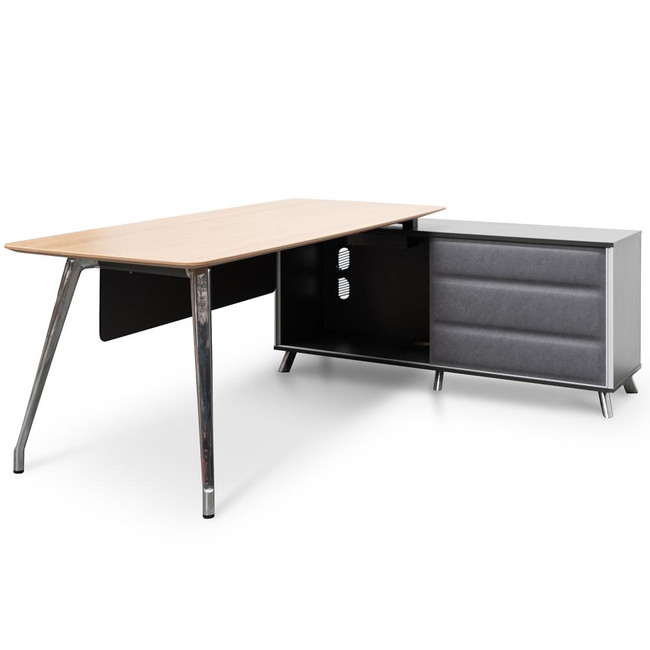 Office Desk Right Return Storage - 2m - Natural Wood - Black