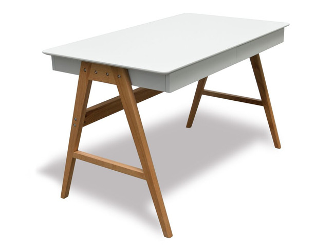 Contemporary Home Office Desk - Solid Oak Legs / MDF Table Top