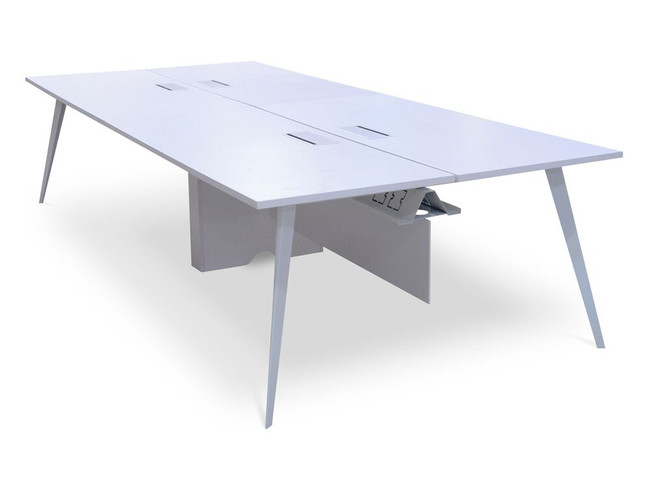 4 Seater White Office Workstations - Stainless Steel Legs
