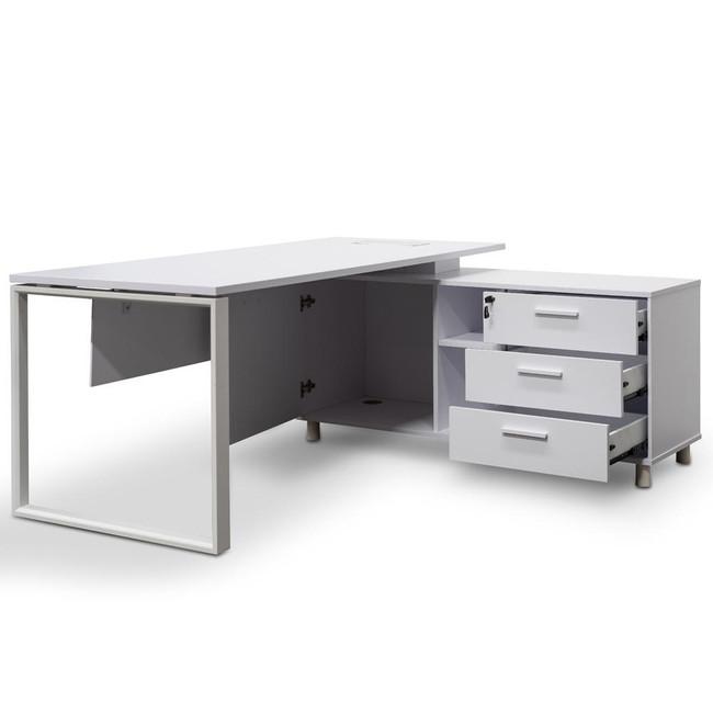 Velocity Executive Office Desk With Under Desk Right Return Storage  - White