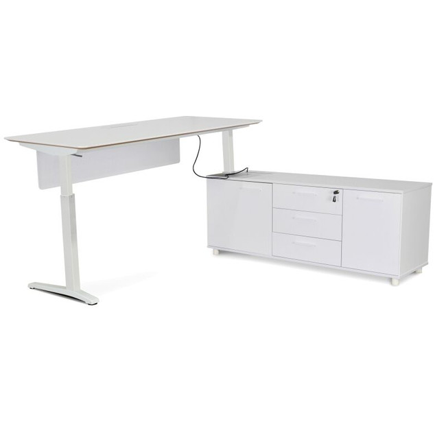Designer Sit Stand Electric Executive Office Desk With Storage Return - White