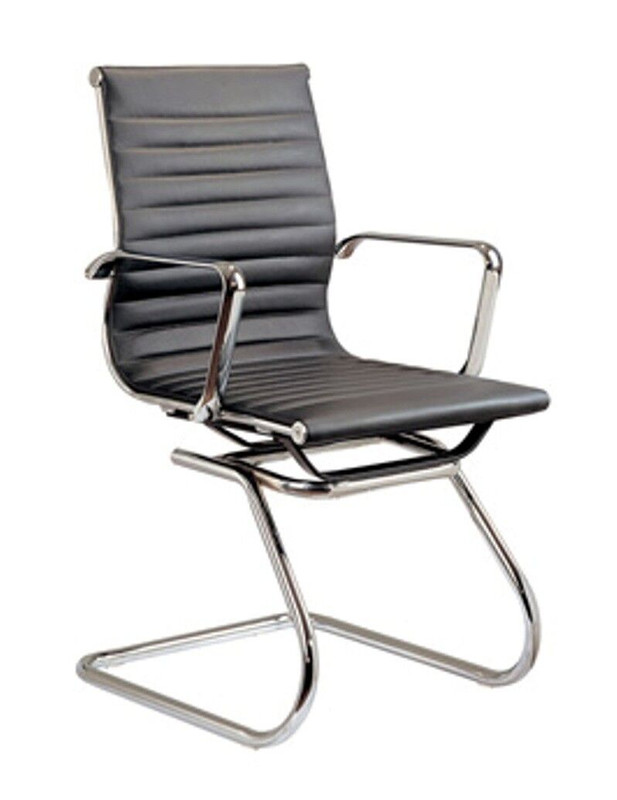 Eames Inspired Executive Sled Base Training Room Chair - Black