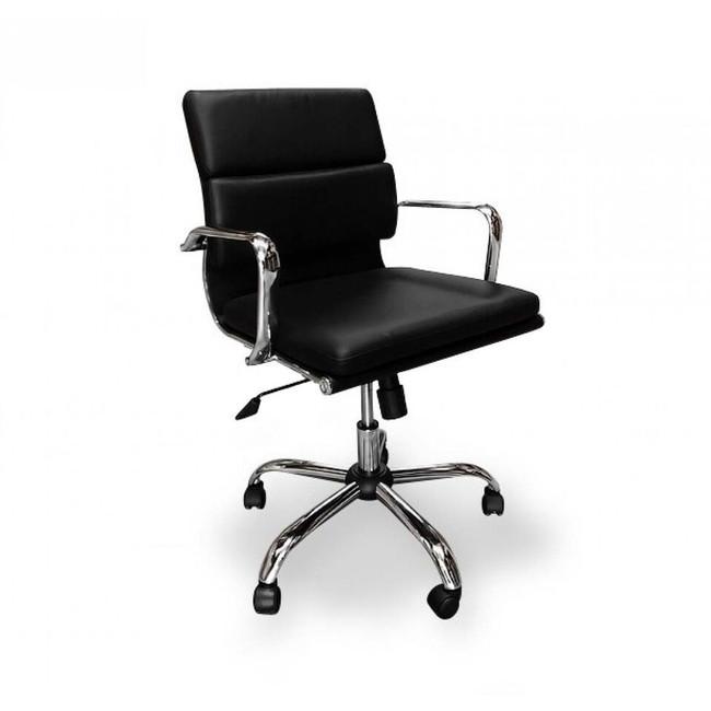 Soft Padded Black Boardroom Chair - Black -  High/Mid Back