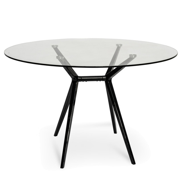Amp Modern Round Meeting Table - Glass Top - Black Legs