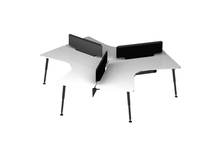 Designer 3 Pod Office Workstation - 120 Degree Desks