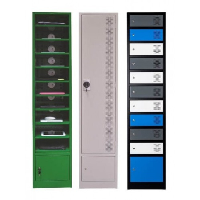 Powered Laptop Lockers with 10 Open Compartments + Base