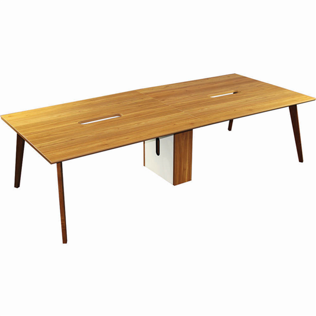 Arbor Executive Timber 4 Person Workstation - Double Sided Desks - American Walnut