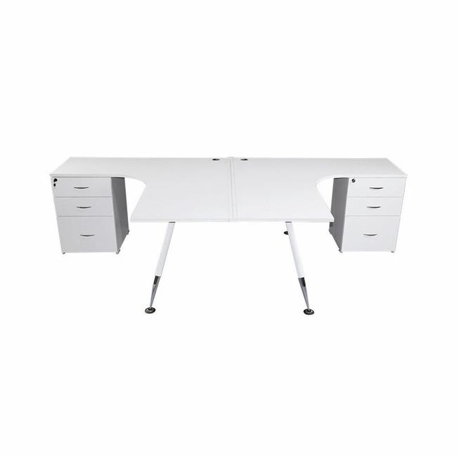 Fleet 2 Person Back to Back Corner Workstation including Drawers - White - Budget Desk Range