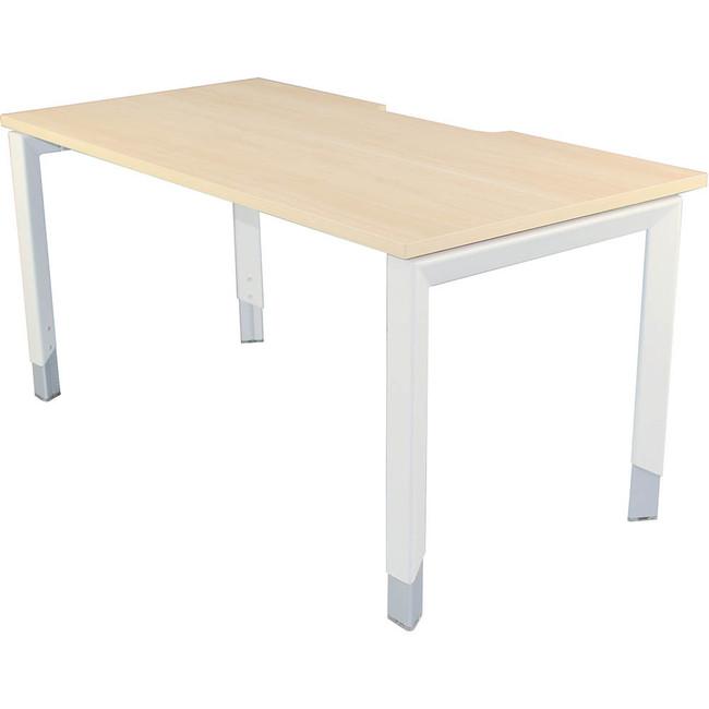 Oblique Height Adjustable Office Desk - Soft Maple
