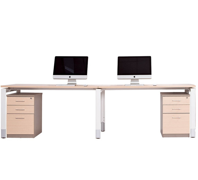 Oblique Height Adjustable 2 Person Straight Desk - Soft Maple