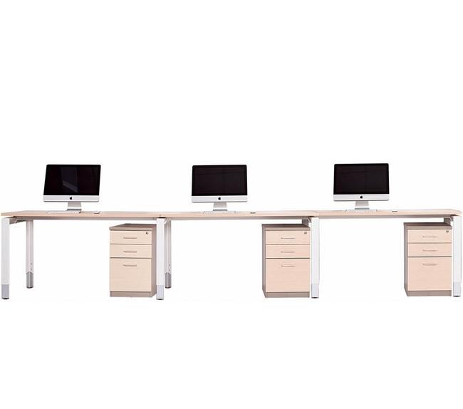 Oblique Height Adjustable 3 Person Straight Desk Run - Soft Maple