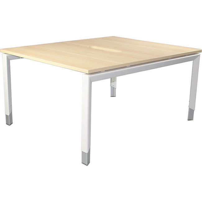 Oblique Height Adjustable 2 Person Back To Back Desk - Soft Maple