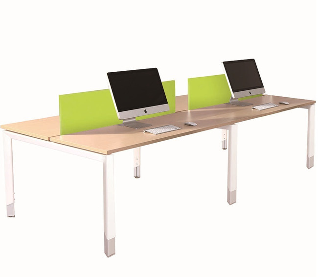 Oblique Height Adjustable 4 Person Back To Back Desk - Soft Maple