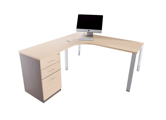 Oblique Height Adjustable Corner Workstation with Fixed Pedestal - Soft Maple