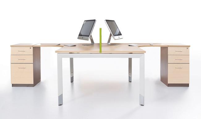 Oblique Height Adjustable 2 Person Corner Workstation with Fixed Under Desk Pedestal - Soft Maple