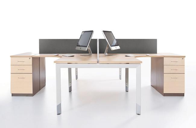 Oblique Height Adjustable 4 Person Corner Workstation with Fixed Under Desk Pedestal - Soft Maple