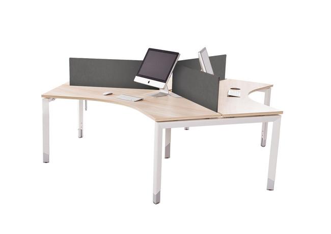 Oblique Height Adjustable 3 Person Workstation Pod - Soft Maple