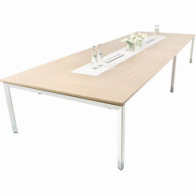Oblique Height Adjustable 8-10 Person Boardroom Table - Soft Maple