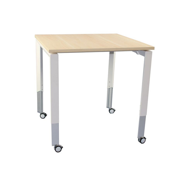 Oblique Height Adjustable Mobile Meeting Table on Wheels - Soft Maple