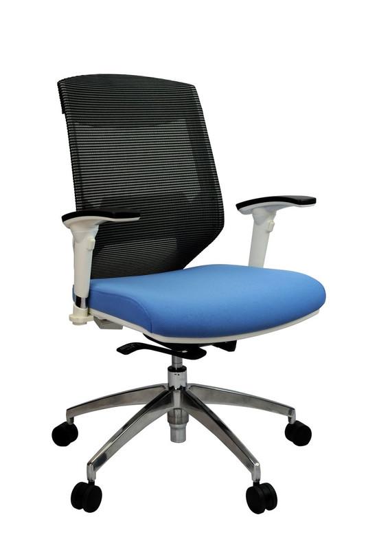 Vogue Modern Ergonomic Office Chair - White Aluminium Frame - High / Mid Back Options