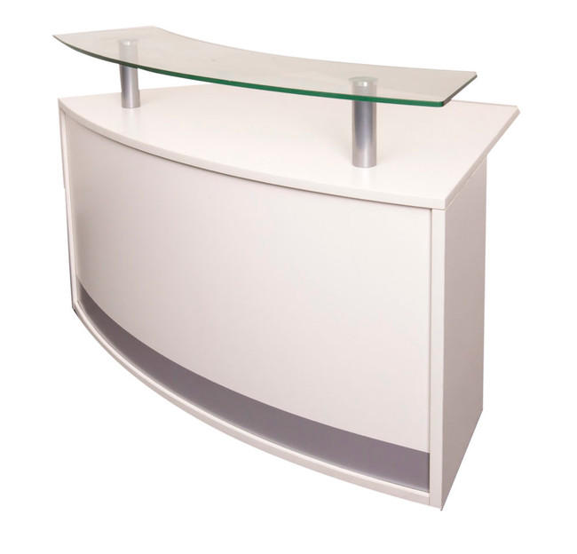 Modular Curved Reception Counter Module with Glass Top - Warm White
