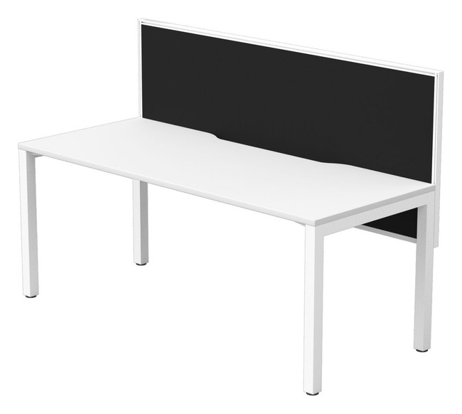 Single Straight Office Desk with Fabric Privacy Screen - Cubit + Connect 30