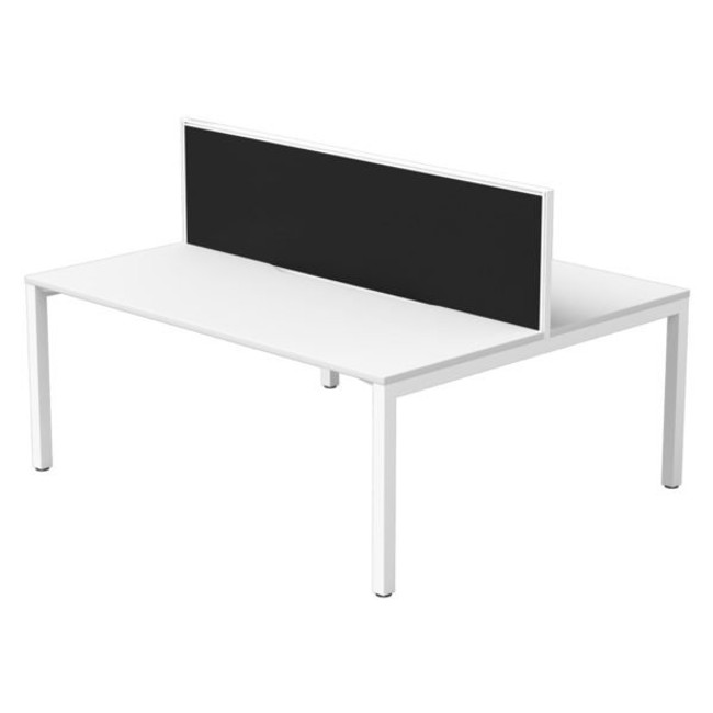 Two Person Office Workstations - Back to Back Desk with Screen Divided - Cubit + Connect 30