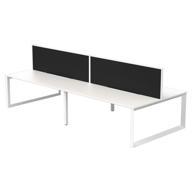 Four Person Straight Back to Back Office Workstation - Quantum + Connect 30