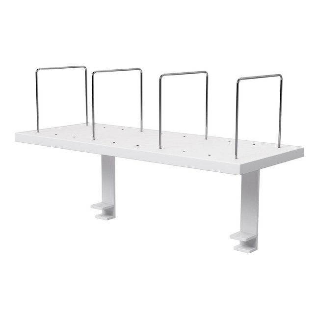 Desk Mounted Shelf with 4 x Chrome Dividers - 750W - White