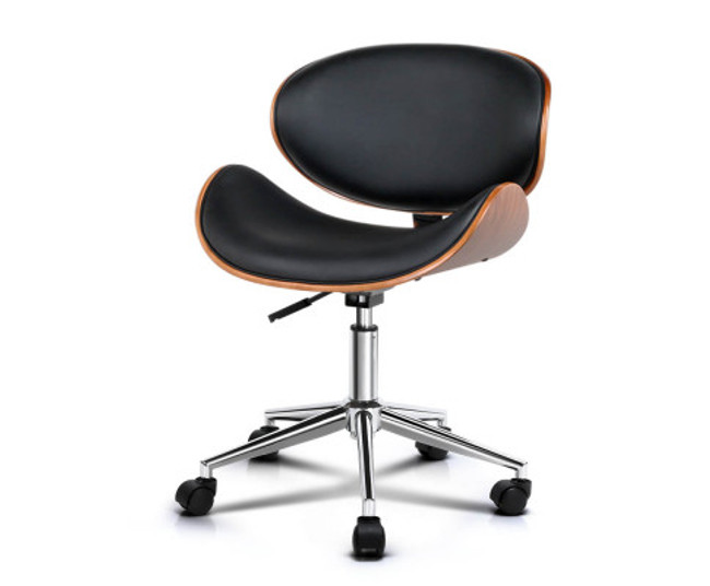 Artiss Wooden & Black PU Leather Office Desk Chair