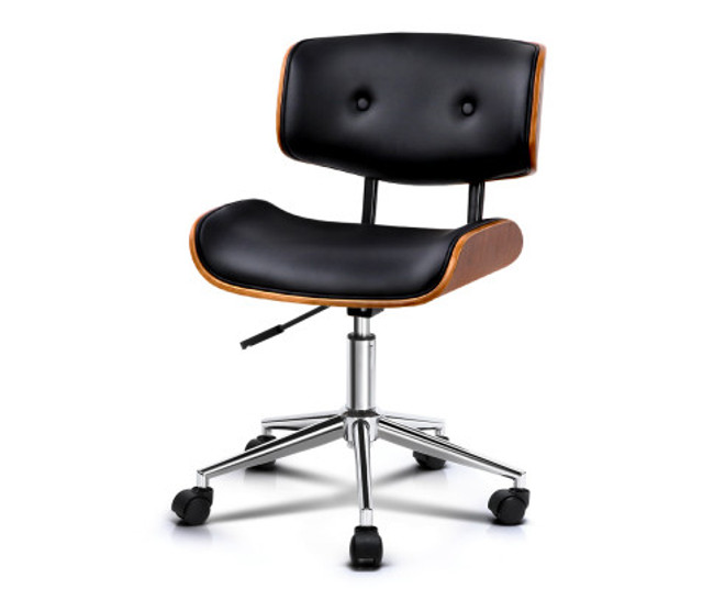Artiss Wooden Frame Black PU Leather Office Desk Chair