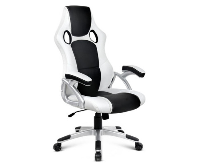 PU Leather Racing Style Office Desk Chair - White & Black