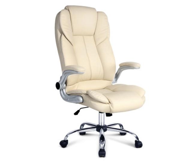 Artiss Beige PU Leather Executive Office Desk Chair
